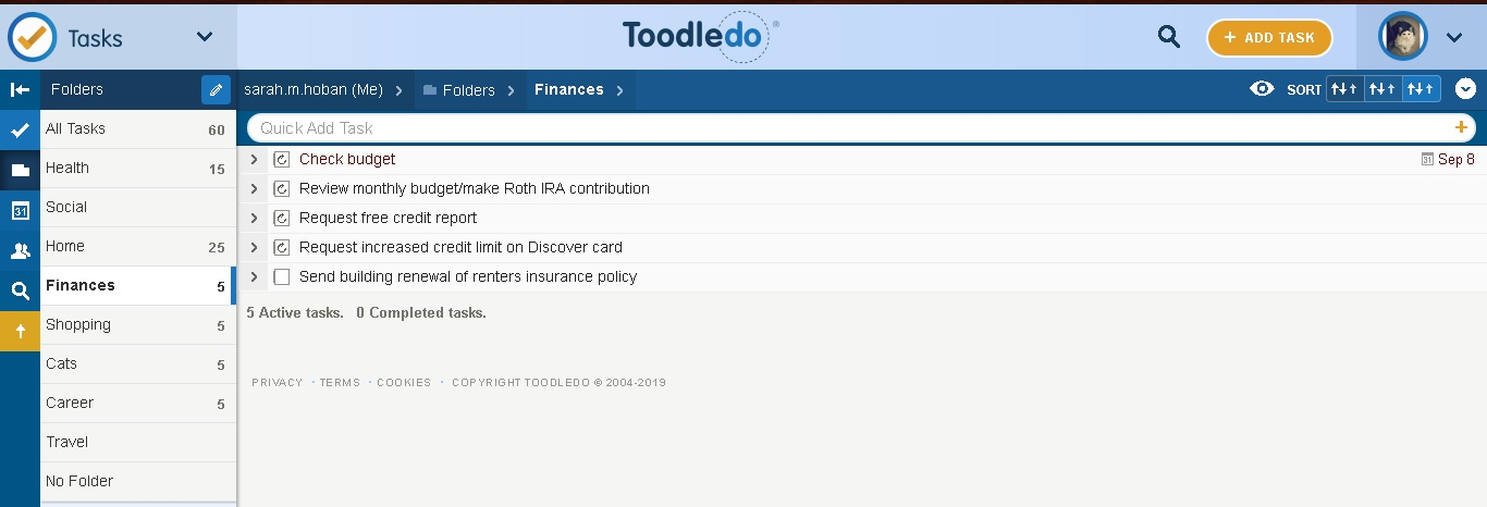 """Tracking finance """"to do's"""" in Toodledo"""