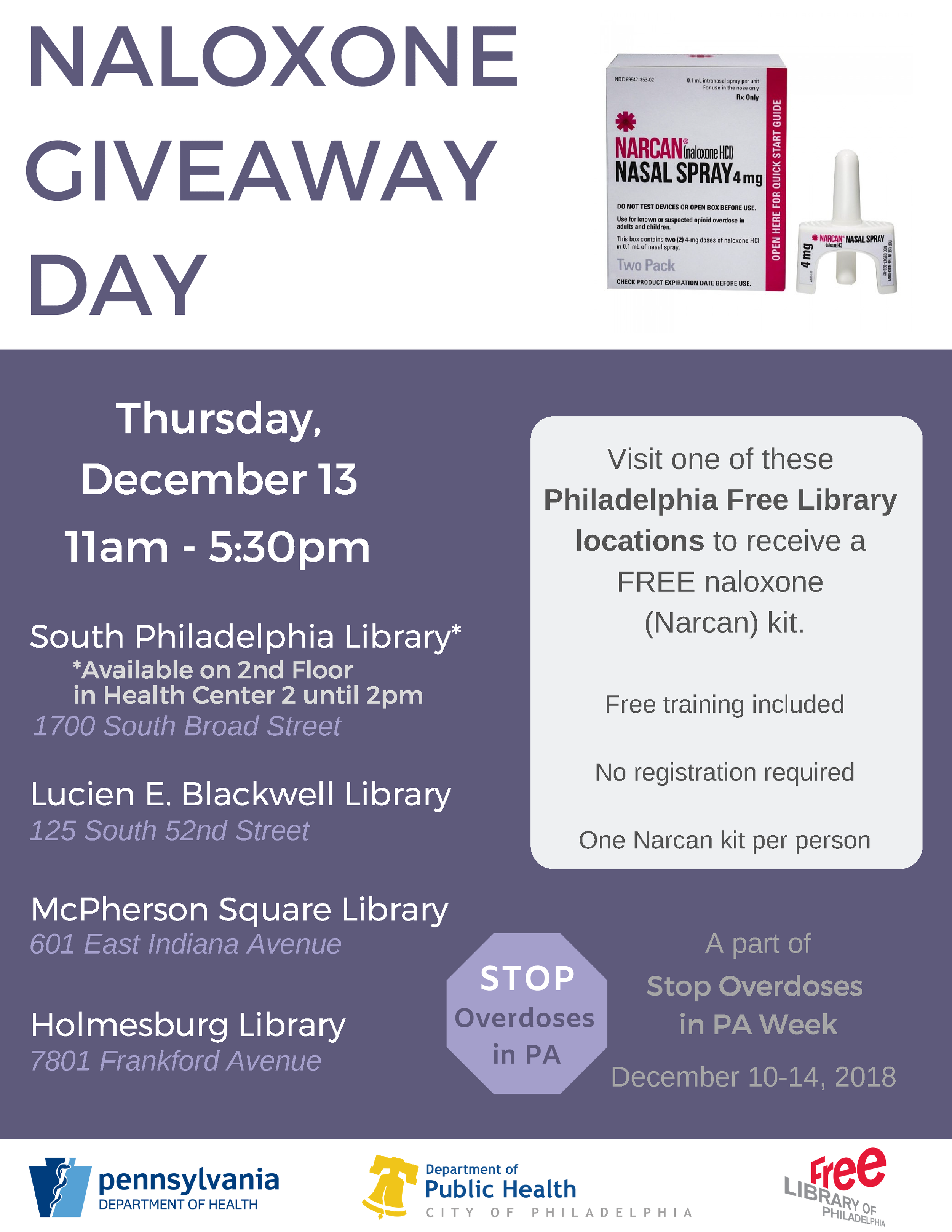 NALOXONE GIVEAWAYDAY - Thursday, December 13th11:00am - 5:30pm