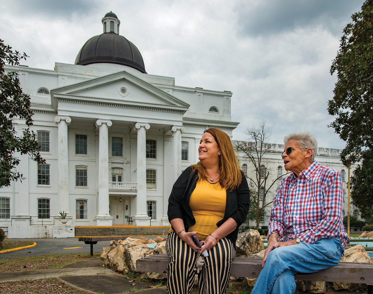 Change:  On the campus of the old Central State Hospital, in Milledgeville, Georgia, peer mentor Cathy Wrighton (right) and program director Gena Garner have seen the state's approach to mental health care change dramatically in recent years.