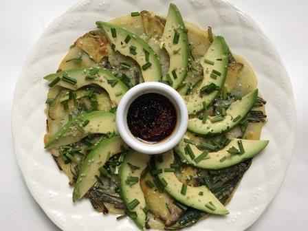 avocado chives-jeon
