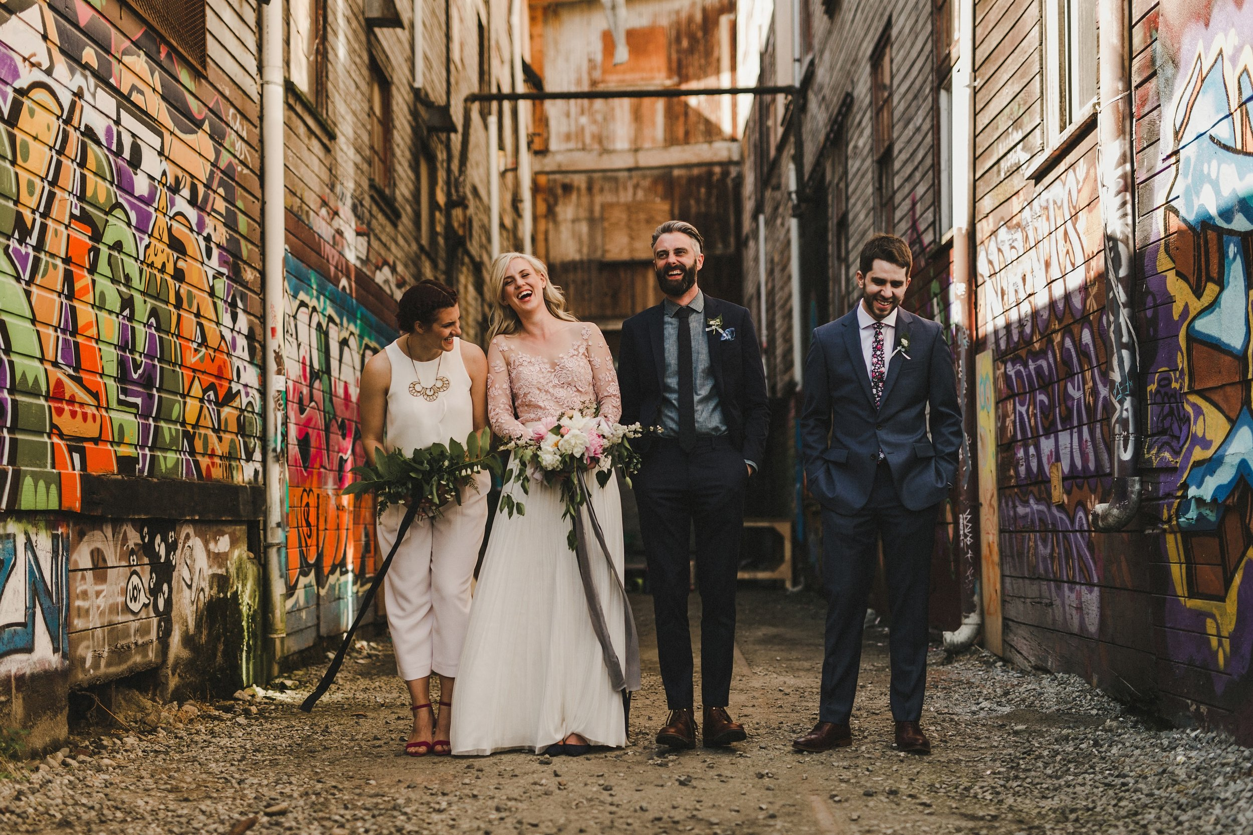 HOWE ABOUT FOREVA - Vancouver urban woodshop wedding by Shari + Mike photographers - wedding party