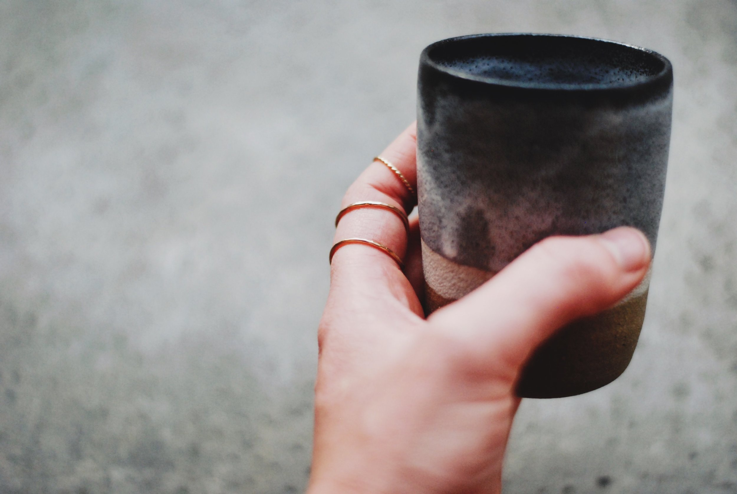 Thank you rum tumblers handmade in Vancouver by Maggie Boyd Ceramics, stacking and twist rings by Foe and Dear