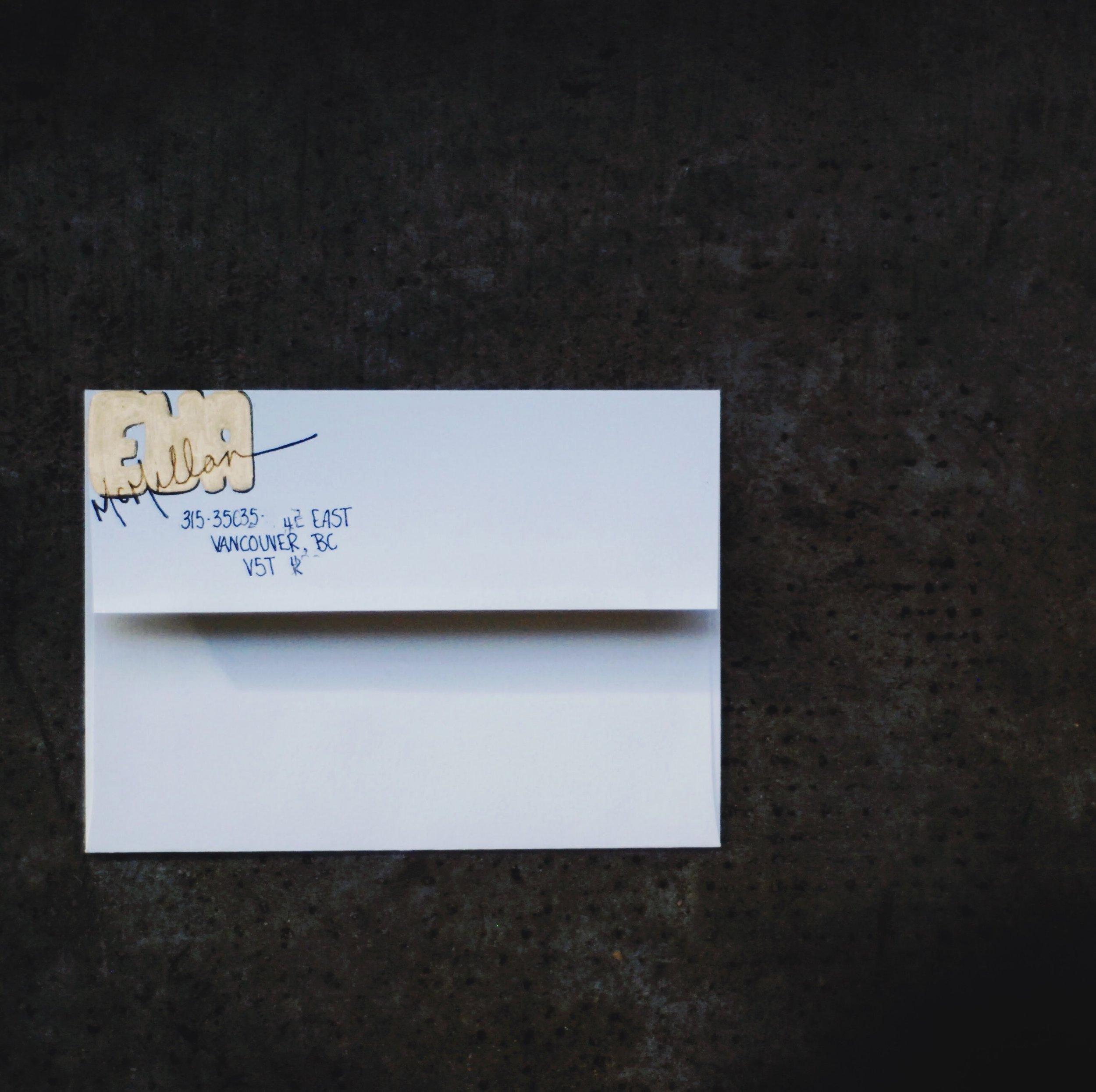 January 2017 Mail Club on livingforeva.com - painted gold hand lettered envelope