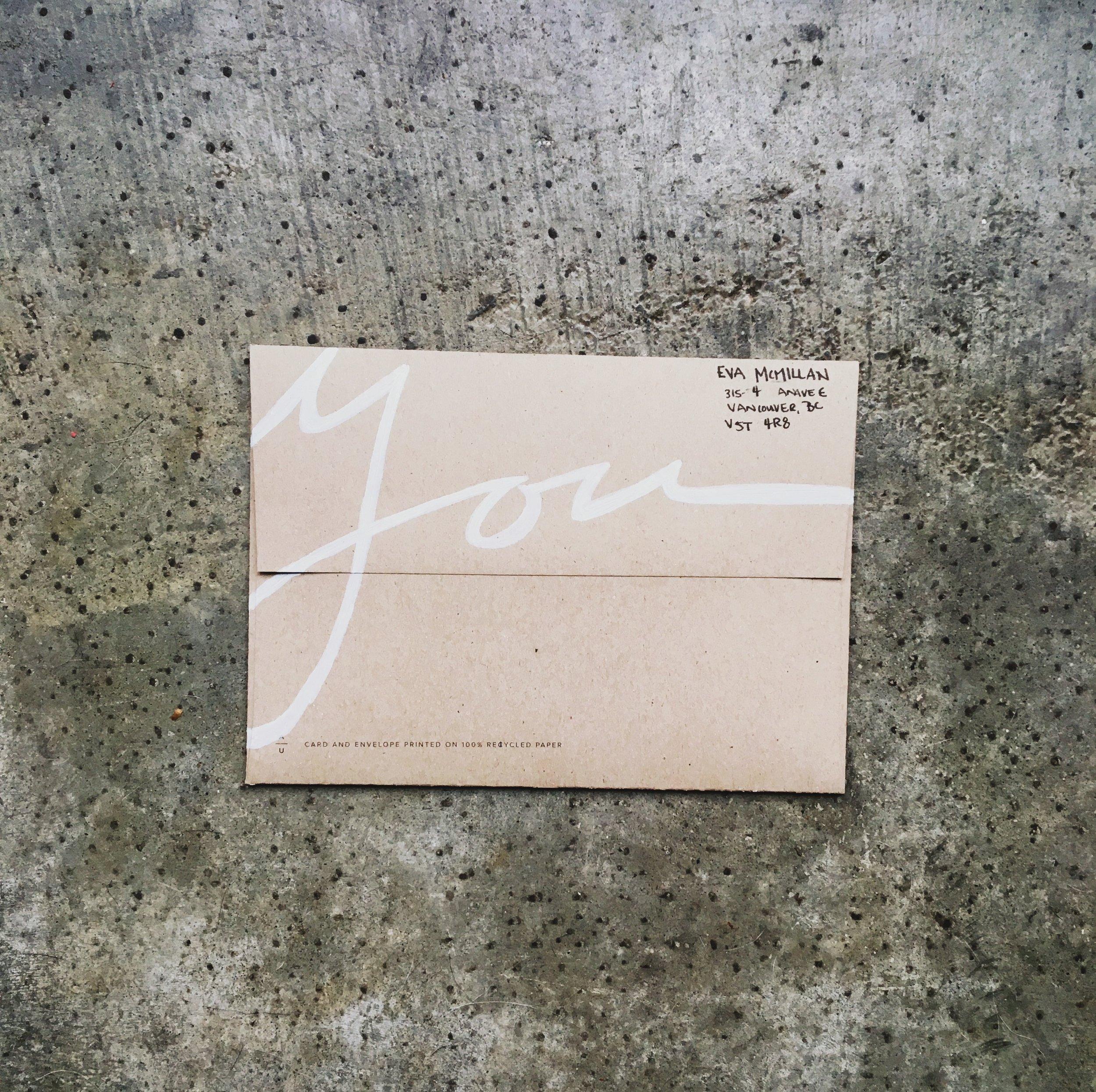 January 2017 Mail Club on livingforeva.com - painted hand lettered envelope