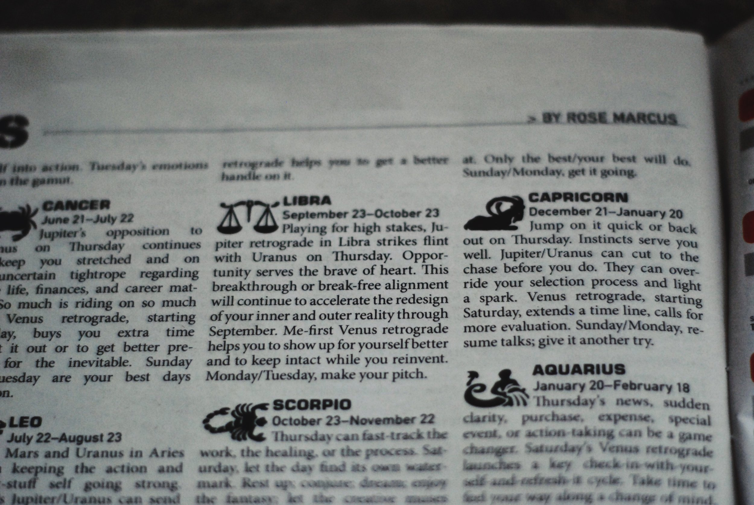 when i pick up a newspaper i just head to the astrology section