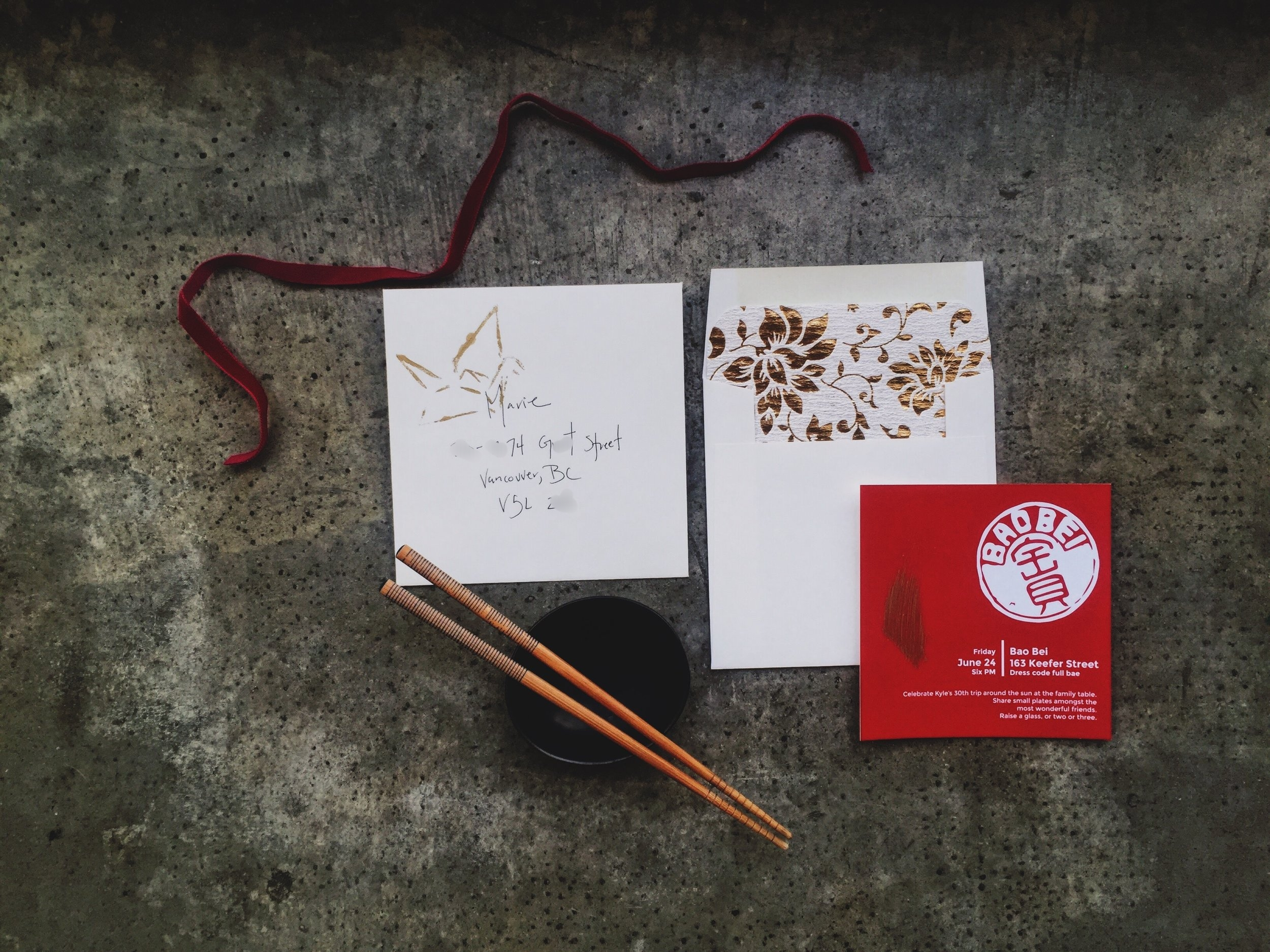 30th birthday invites for a family style meal at Bao Bei Chinese Brasserie