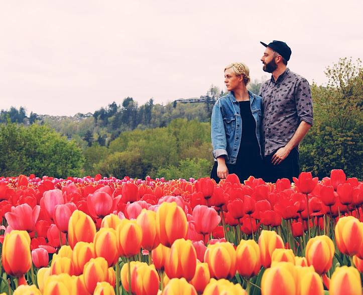 runner up at the tulip festival couple photo contest