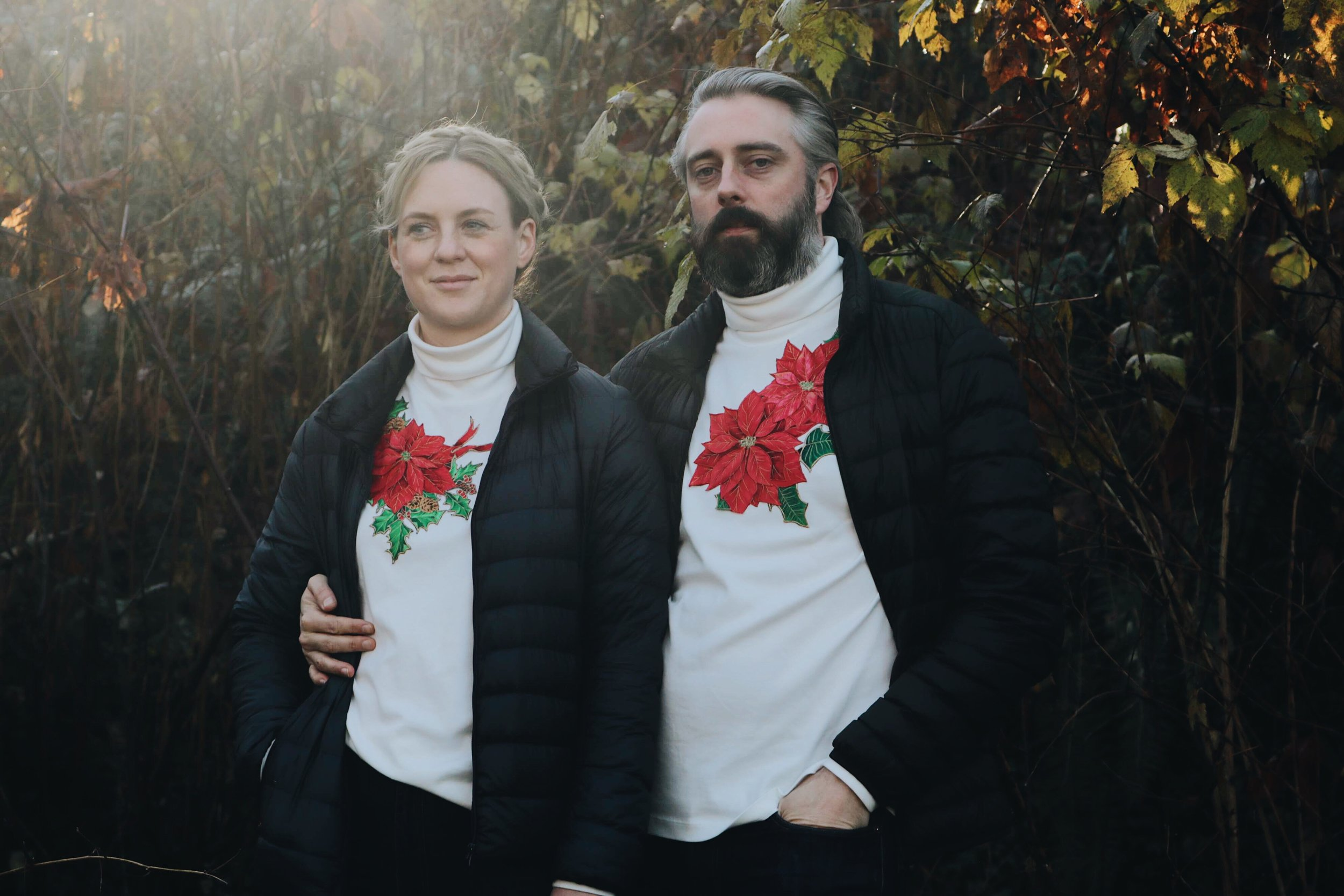 Matching his and hers ugly Christmas turtlenecks