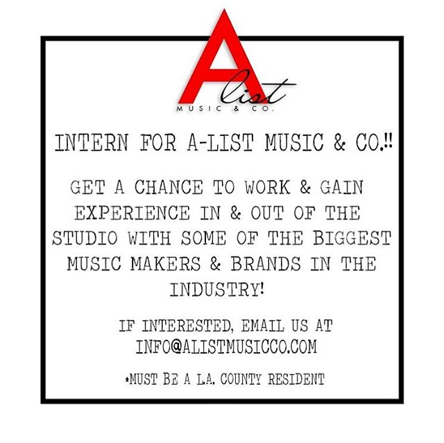 We are giving an opportunity to someone who is hungry to be in the music industry. Learn the in's and out's of the music  business by hands on experience with our staff of top music professionals. Whether you're an aspiring, producer, songwriter, photographer, A&R, music exec., etc. we're interested in having you! Details on post.... #intern #musicbusiness #musicindustry #la #losangeles #dtla #photographer #musician #singer #songwriter producer #photographystudio #dancestudio #recordingstudio #rehearsalstudio #opportunity