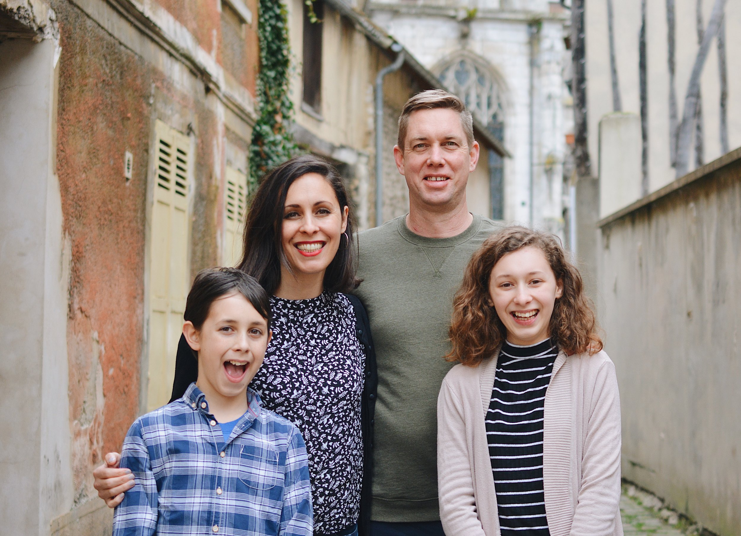 The Stewart Family - Jeff, Sonja, Josephine, and Asher have left America to church plant in Vernon, France.