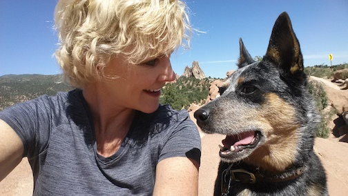 Vicki Wilkinson and her dog, Elle Mae working on Photo Shoot at the Garden of the Gods, Colorado Springs, Co.
