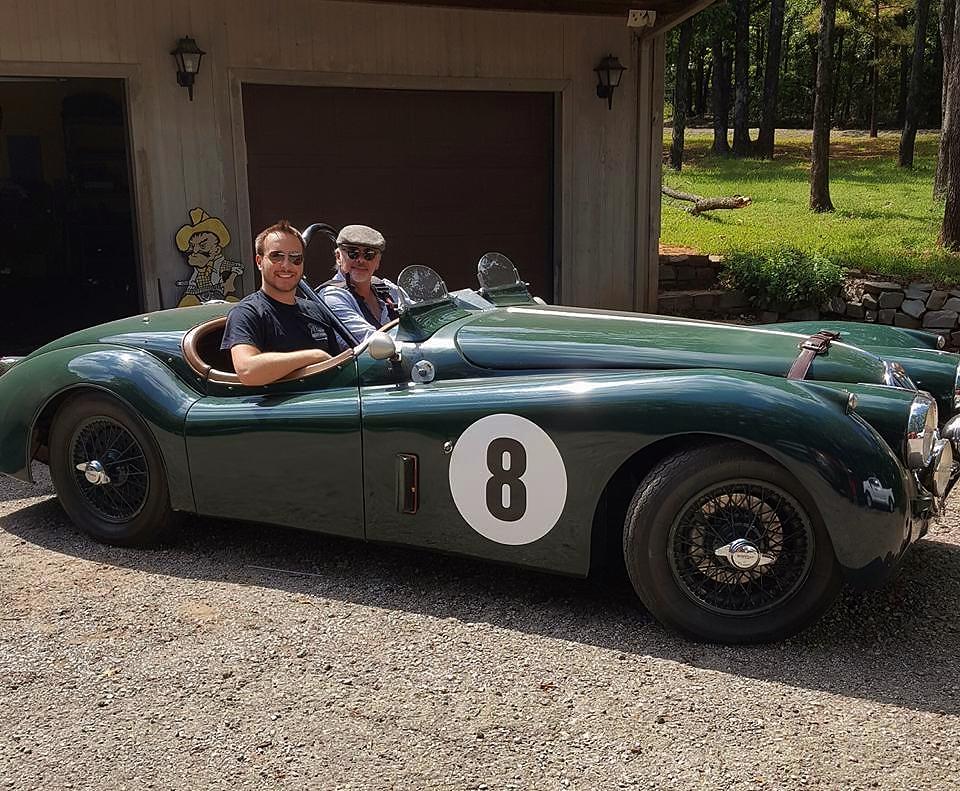 Ben and myself in my 1956 vintage racing Jaguar XK140