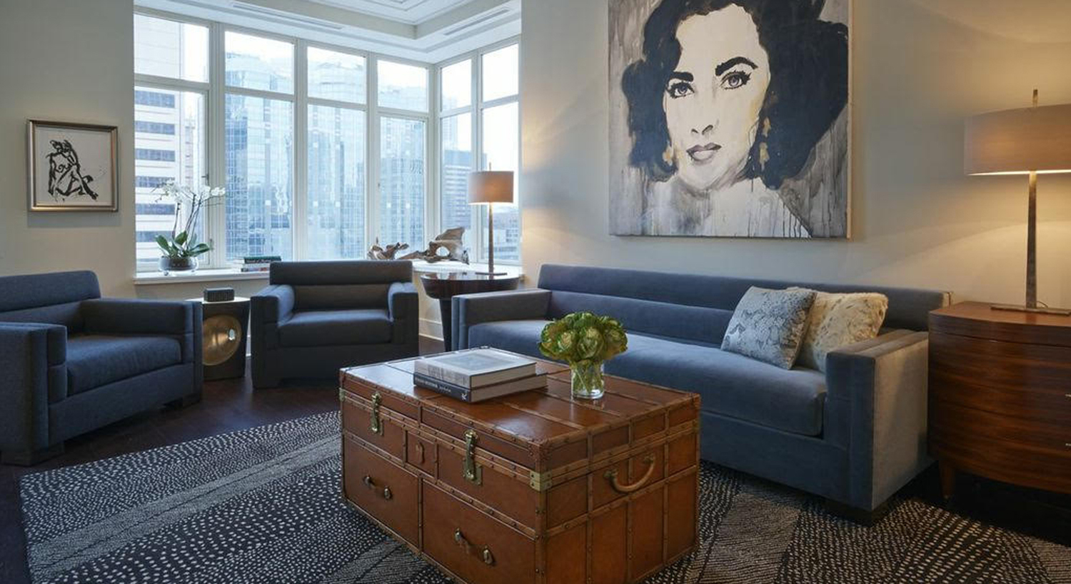 Designer: Gray | Walter Location: Ritz-Carlton, Chicago Rug Design: Chevron