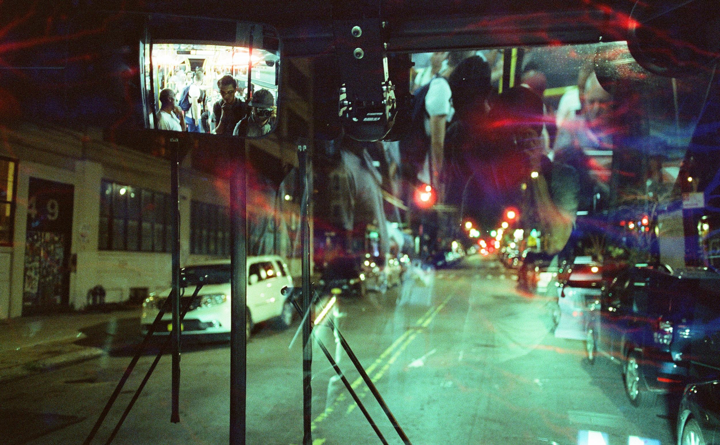 B54 Line Selfie (Damaged Frame) - Olympus Om2n - Cinestill 800T