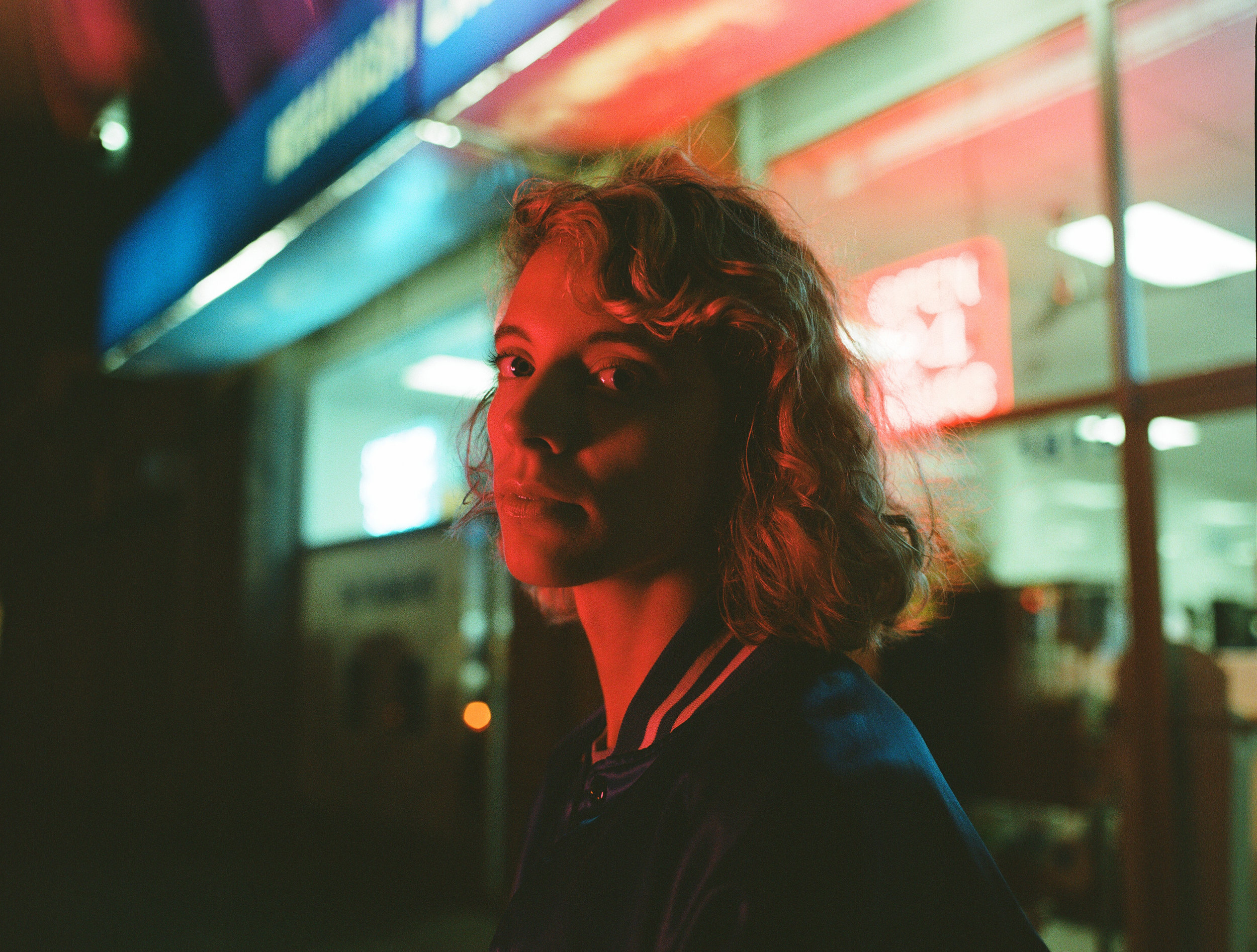 Mallory in mixed neon & led - Kodak Portra 800