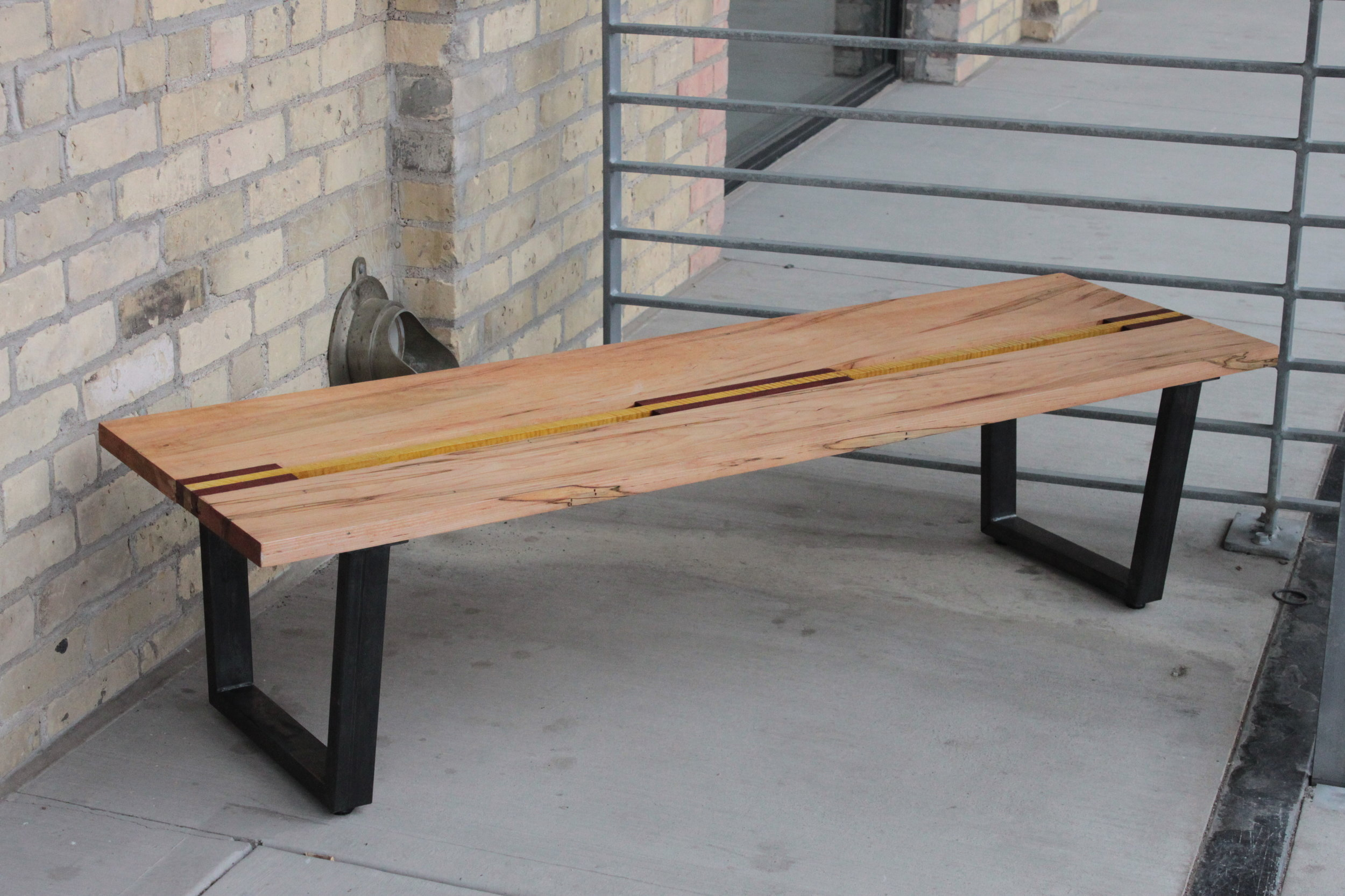Maple, jatoba, figured maple and powder-coated steel
