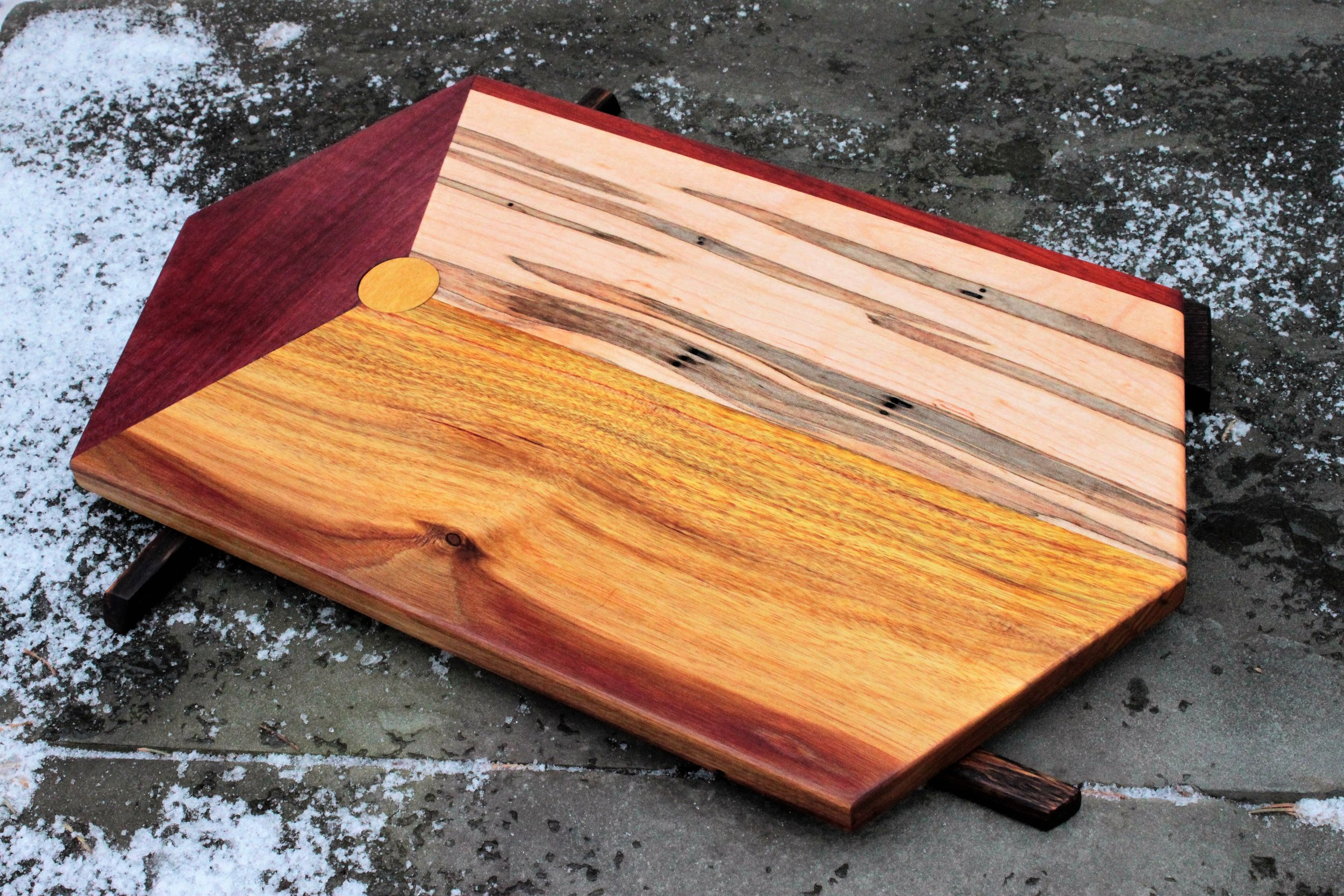 Canarywood, ambrosia maple and purpleheart