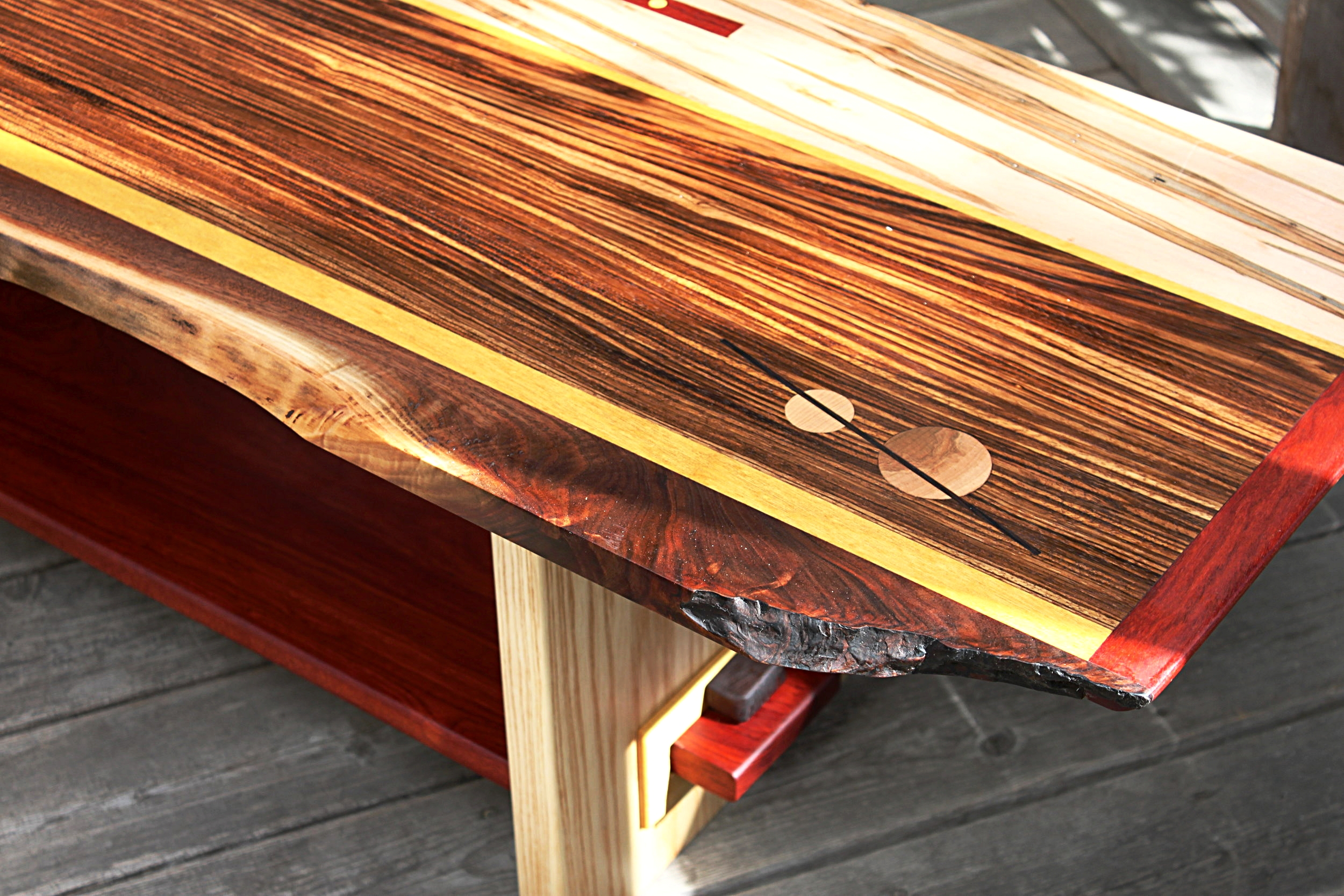 Zebrawood table detail