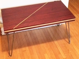 Padauk and ash bench, brass inlay, hairpin legs.