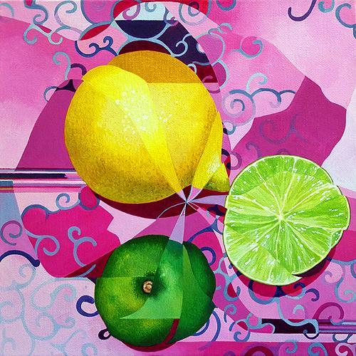 Lemon/Lime. Acrylic on canvas, 12x12 inches, 2016 by Sarah Atlee