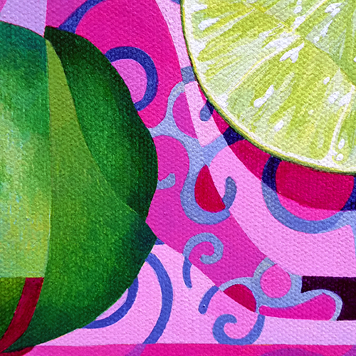 Lemon/Lime (Detail view 2). Acrylic on canvas, 12x12 inches, 201