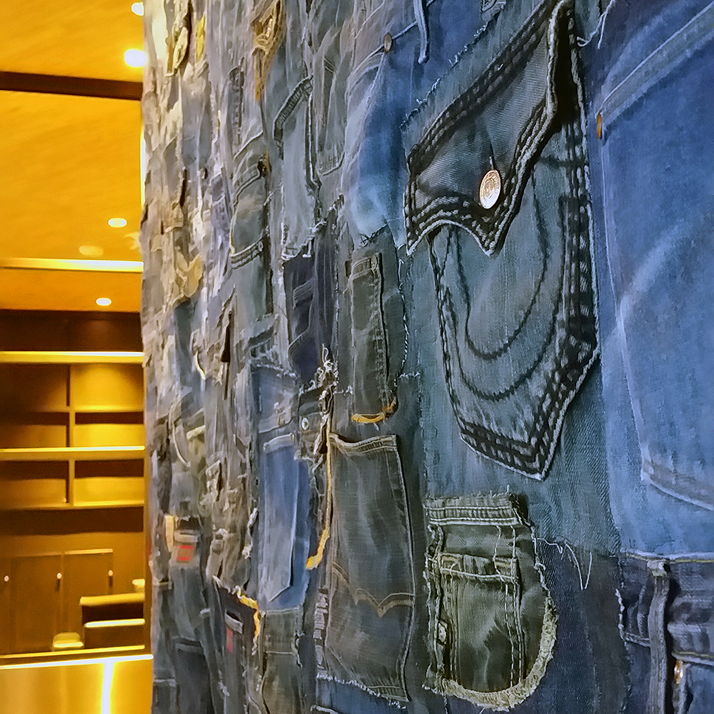 Denim Wall (detail view of installation) | Commissioned work