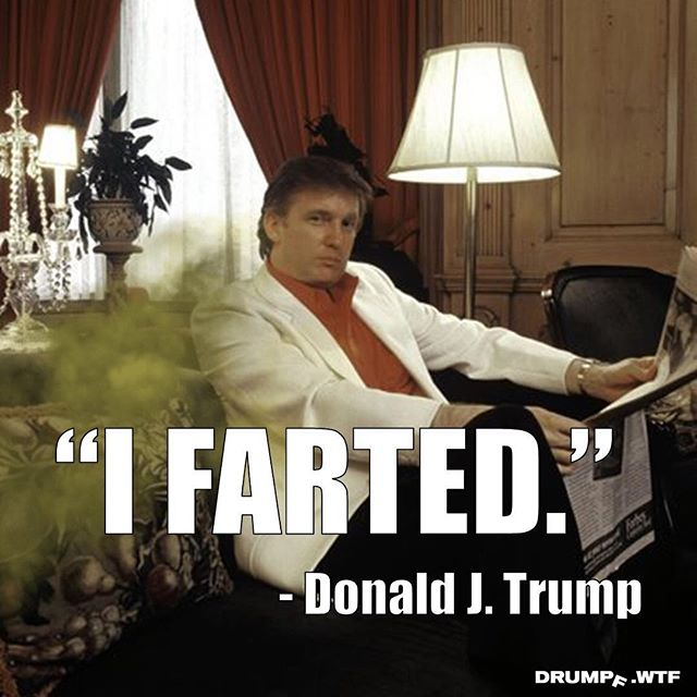 He who smelt it dealt it. The Drumpf.WTF research team informed us that our juvenile, potty humor posts get the most social engagement. We expect this photo to be double tapped and liked about 50,000 times. #fart #farts #farting #fartfetish #stink #stinker #poop #trumpstinks #resist #donthecon #drumpf #drumpfdotwtf #toilet #diaper #bowelmovement #gas #smelly #hewhosmeltitdealtit #trumptower #poison #whitejacket #meme #memes #trumpmemes #trumpquotes #quotes #quote #quotestagram