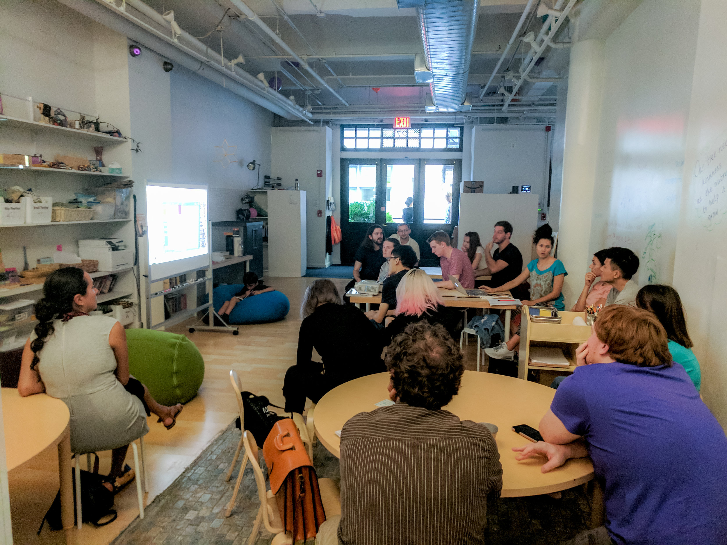 NYU team meets with Nancy at Portfolio
