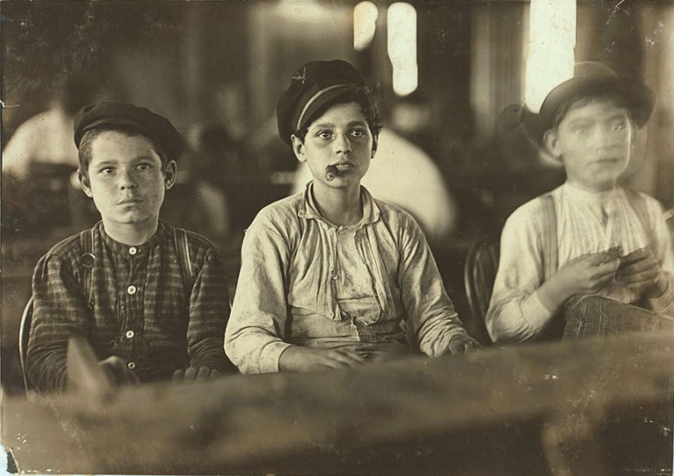 Young cigar makers in Englahardt & Co., Tampa 1909 By Lewis W. Hine.