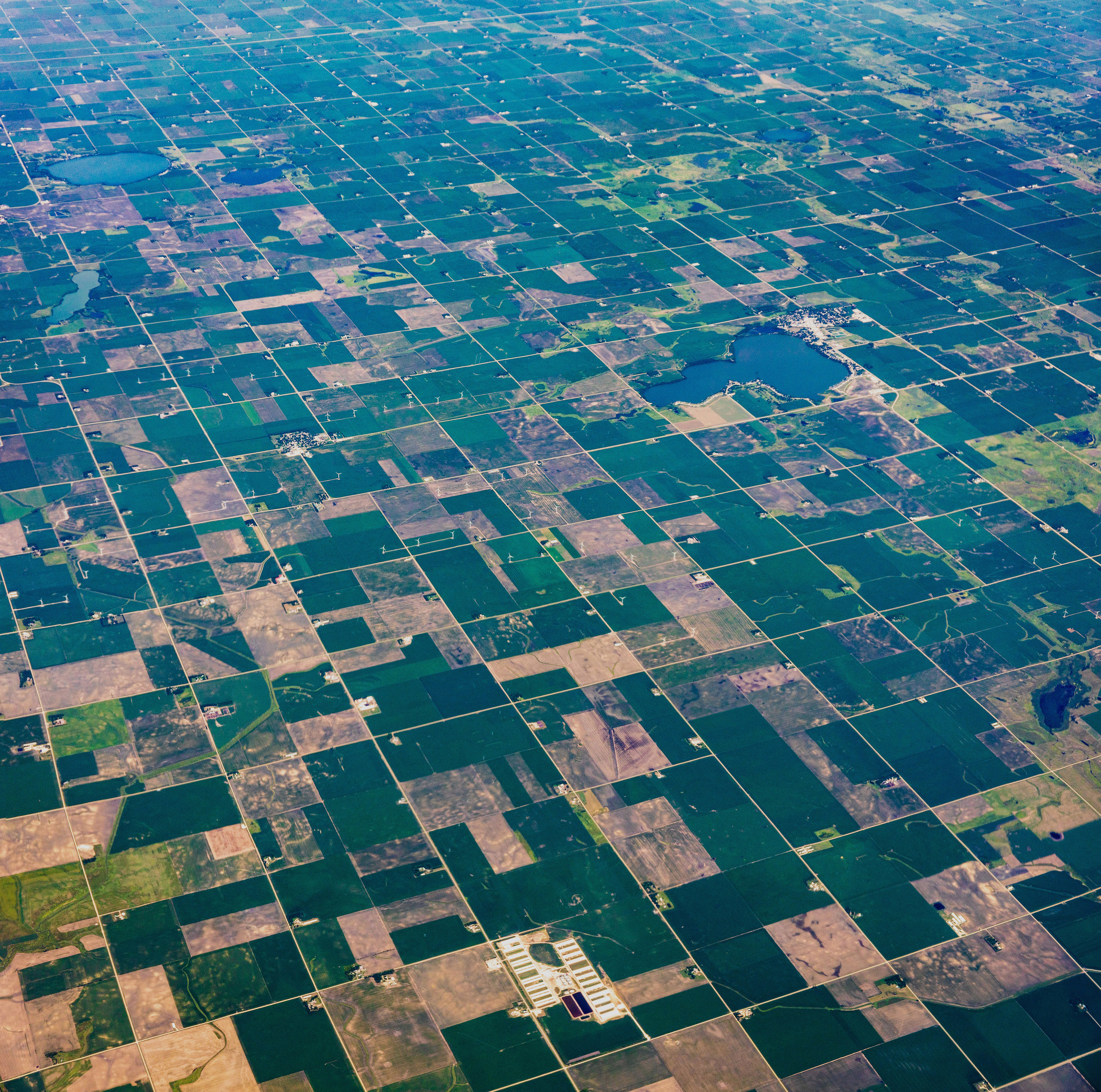 Mile square grid of farmland SW of Silver Lake Iowa