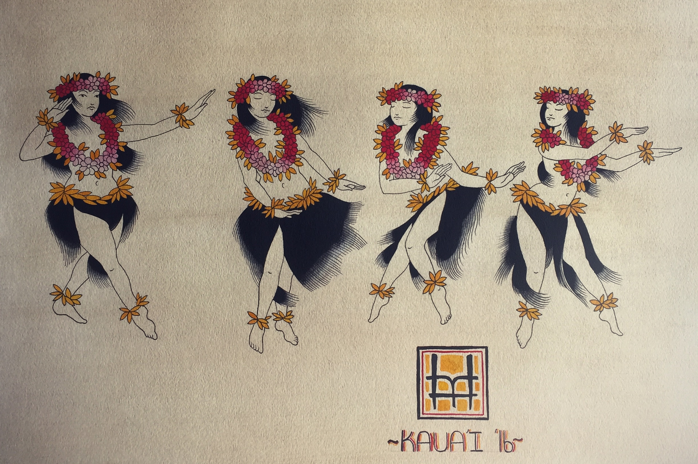 Hula Girls By Matt Hoyme. Part of his show at Java Kai. It hangs through the New Year!