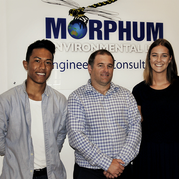 Left to right: First Foundation scholarship recipient Miracle Naititi, Morphum Environmental Director Dean Watts and Environmental Scientist Emily Reeves, who is active in sustainability initiatives at Morphum Environmental.