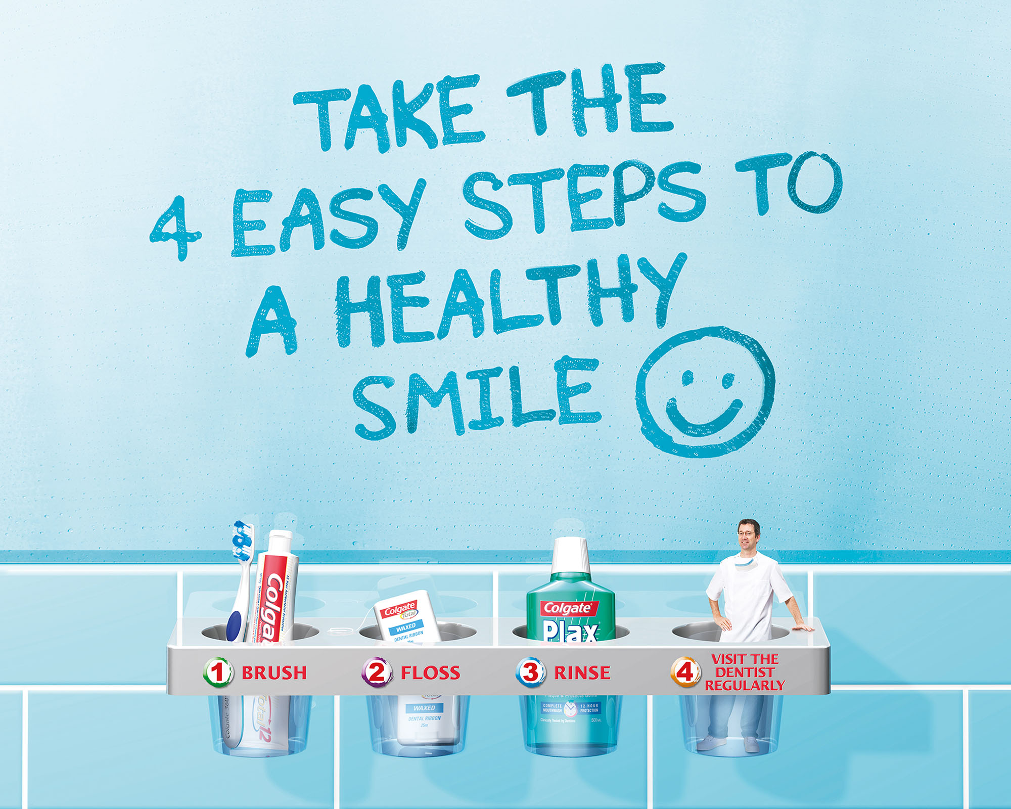 """One of several different versions created for Leo Burnett's """"Colgate-4 easy steps"""" print campaign using a combination of photography, retouching and 3D rendering."""