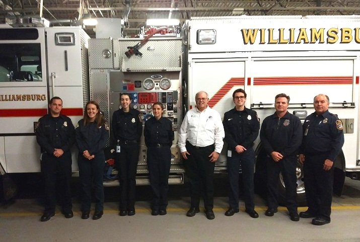 From left to right: Fire Sergeant/Operations Lieutenant, Collegiate Sergeant, Secretary, Treasurer, Councilman Ted Maslin, EMS Sergeant, Vice President, and President.