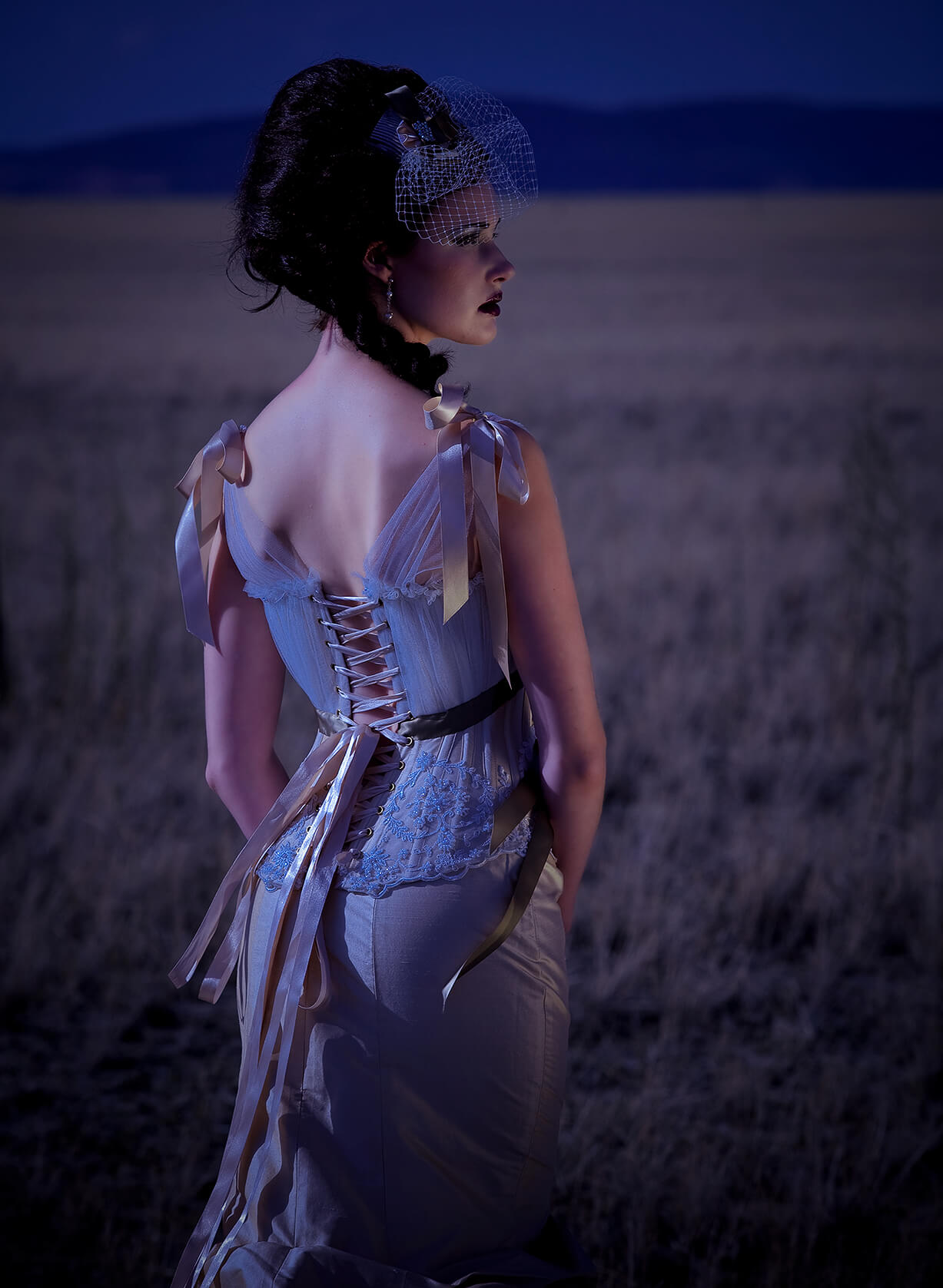 Bridal fashion by night showing back of corset dress