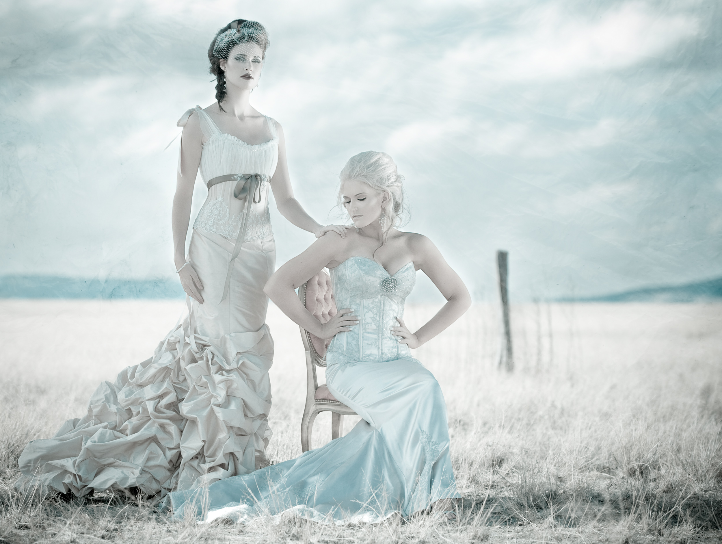 Fashion brand photography styled shoot showing same sex marriage brides in period design
