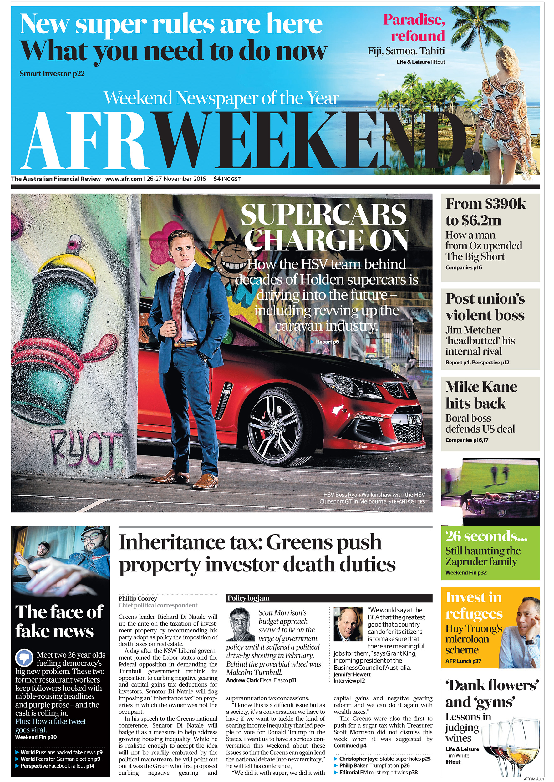 Newspaper front cover photography portrait of Ryan Walkinshaw HSV boss