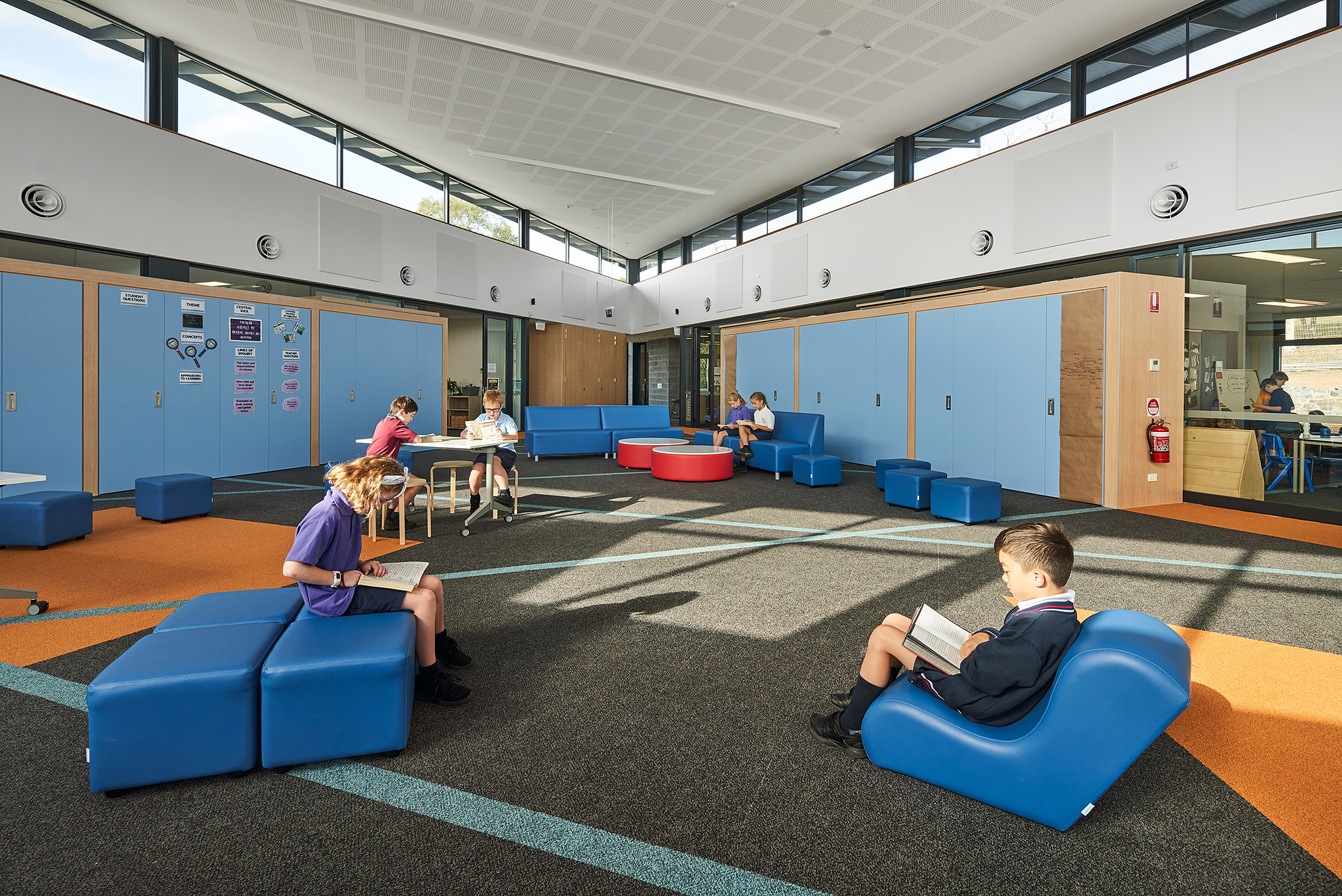 Inside a modern school classroom layout changeable space design.