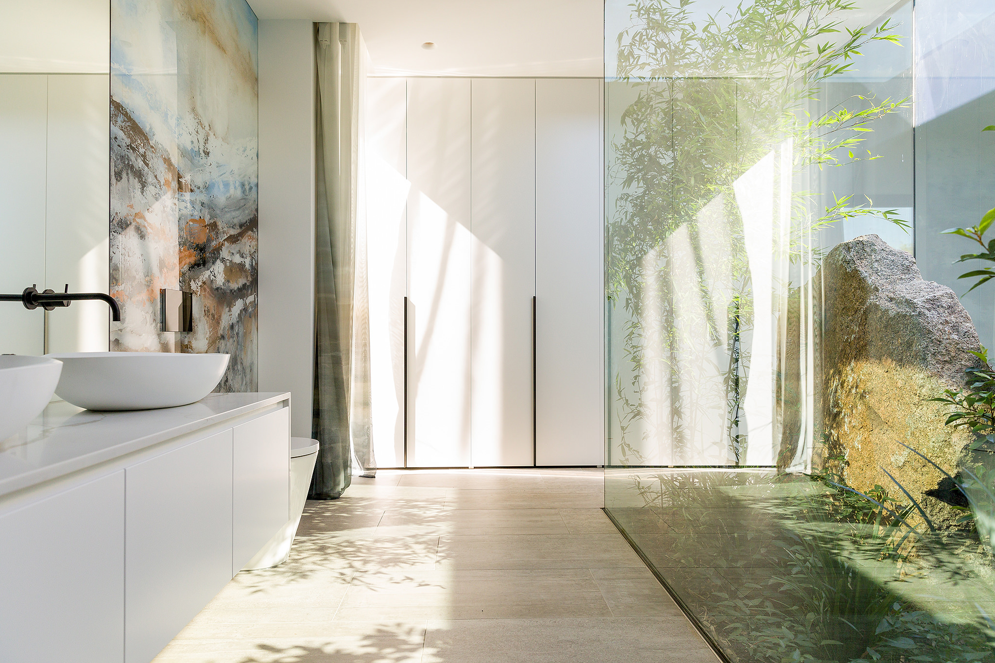 Interior design photography of a bathroom with internal garden