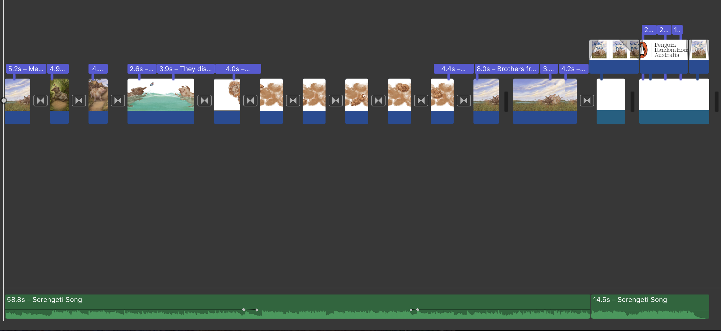 The book trailer timeline including the music track.