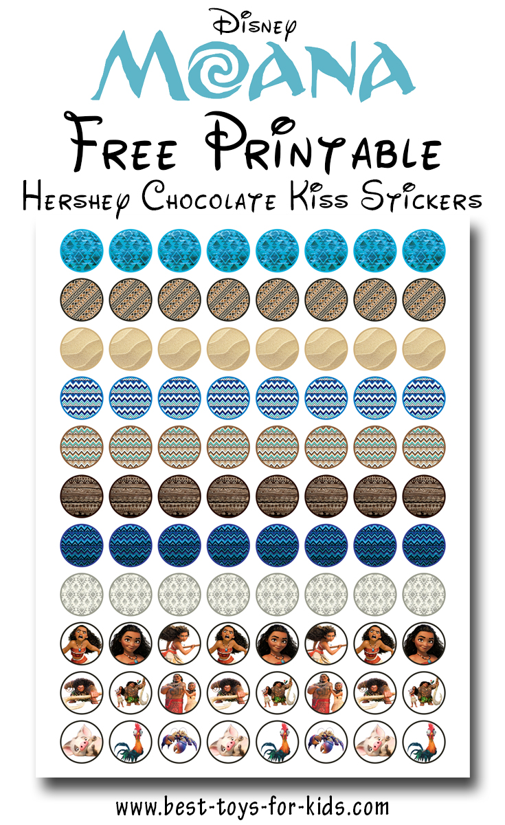 Disney Moana Free Printable Hershey Kiss Stickers