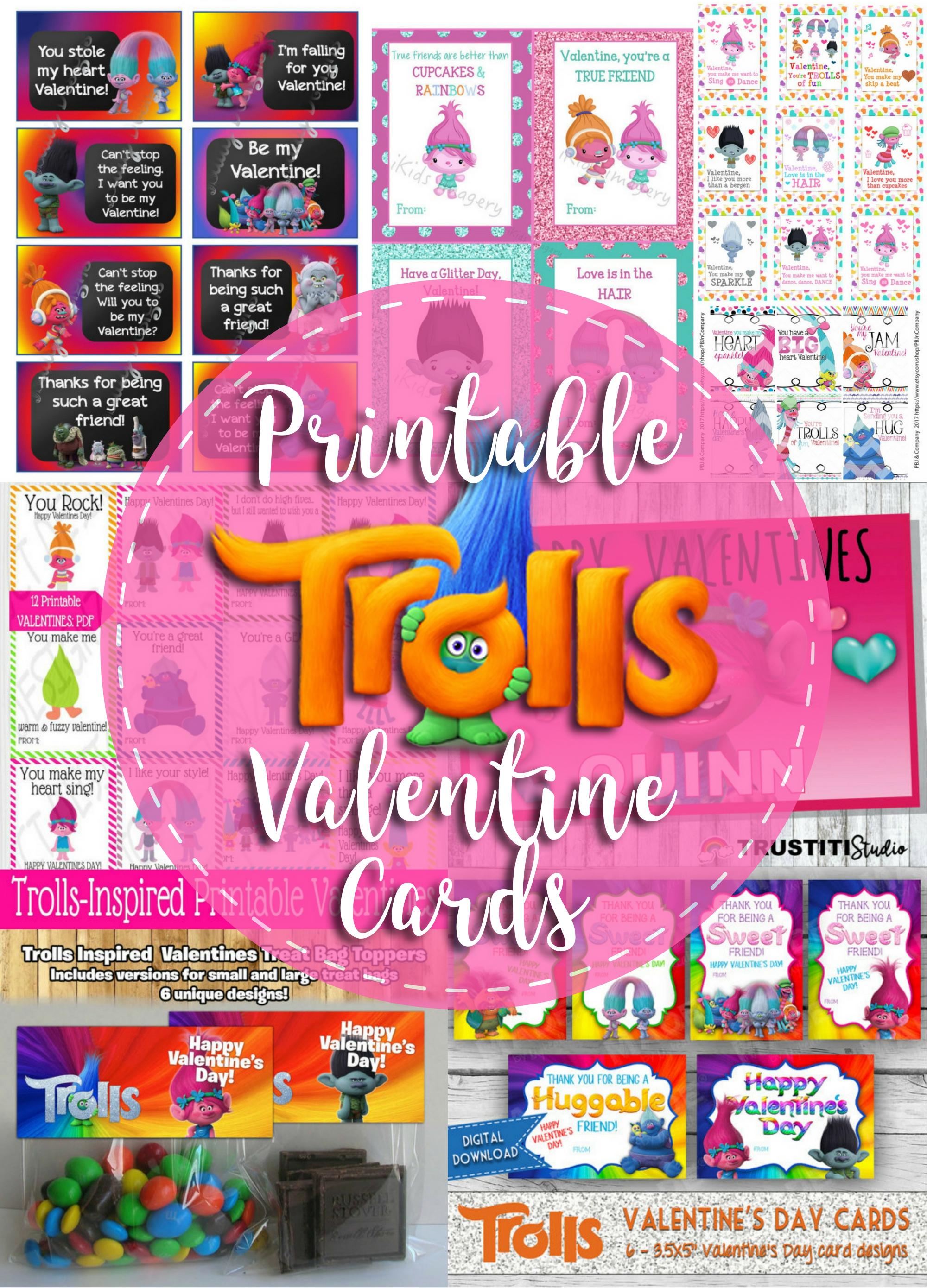 Printable Trolls Valentine's Cards For Kids