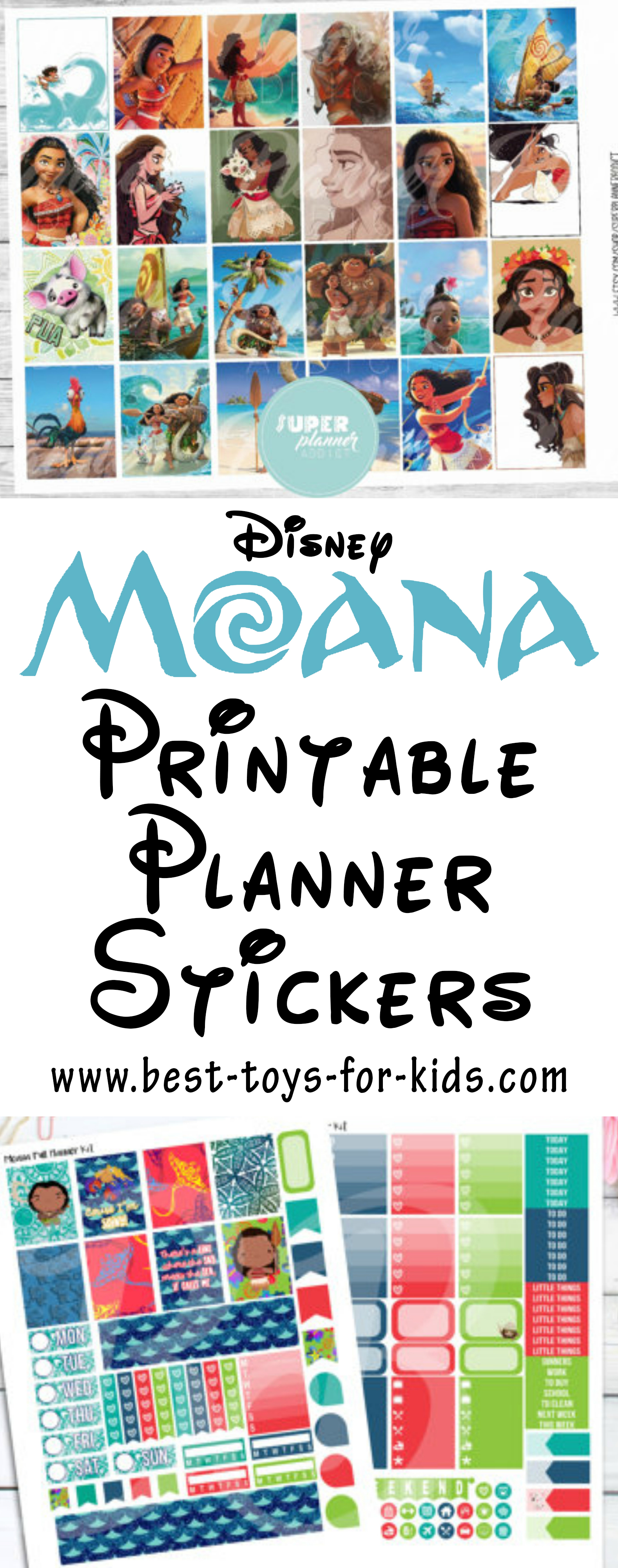 Disney Moana Planner Stickers