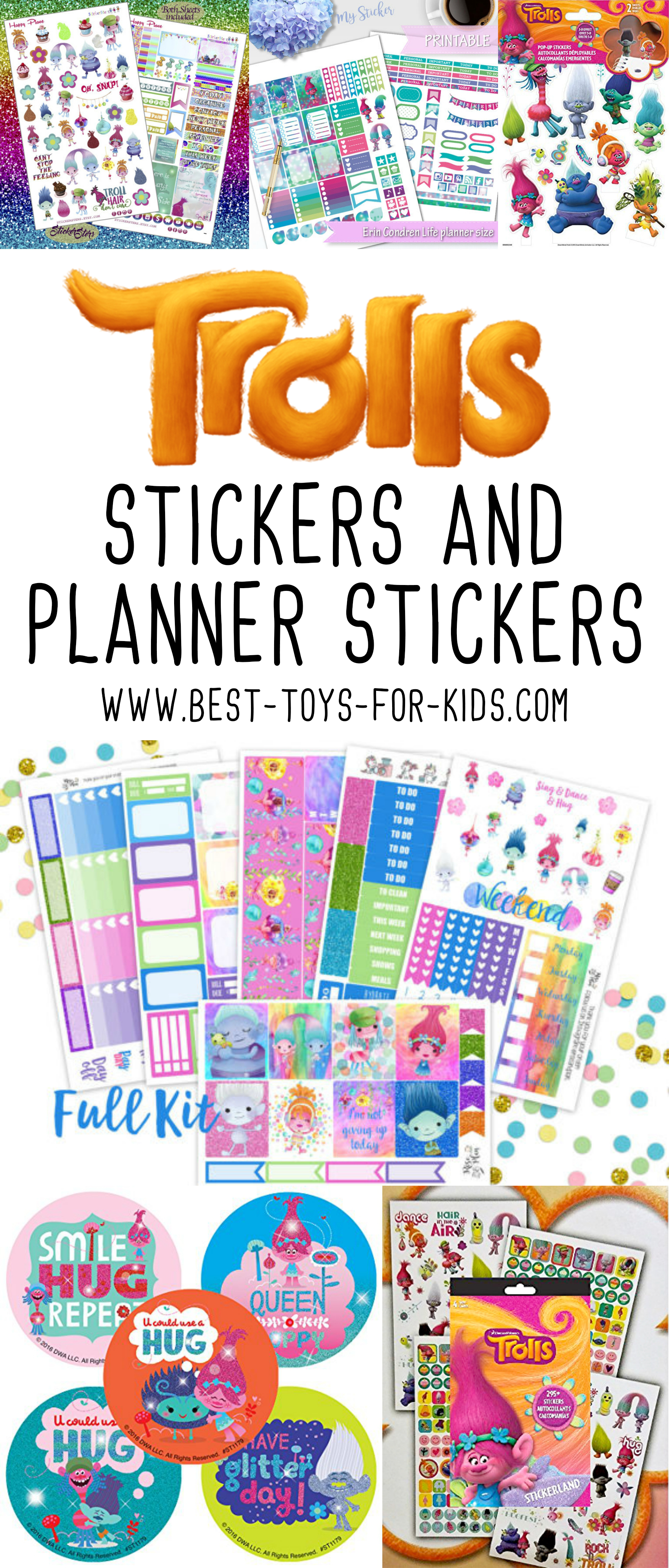 Trolls Stickers and Daily Planner Stickers