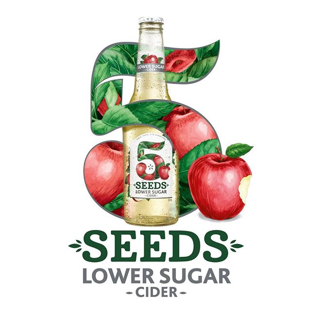 Redesign of 5 Seeds Cider Low Sugar, packaging, tertiary packaging and key visuals #cider #beer #packaging #brandedpackaging #graphicdesign #branding #packagingdesign #brand #fmcg