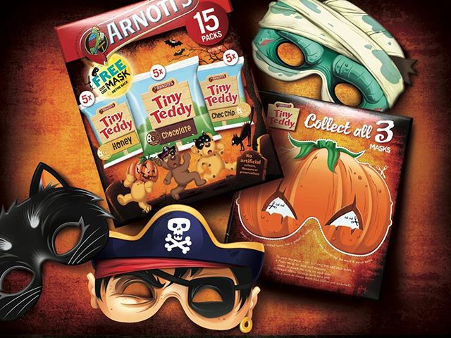 Time to get the kids ready for Halloween with 3 different masks on the arnotts tiny teddy packs #arnotts #arnottsbiscuits #fmcg #brandedpackaging #packaging #graphicdesign