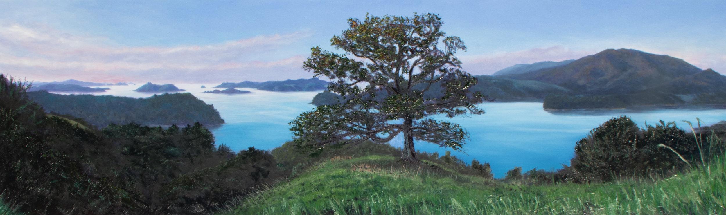 "FOR SALE 60x20"" View over Waipiro bay to Urapukapuka Islands is one of my all time favourites —- dewsyart@gmail.com"