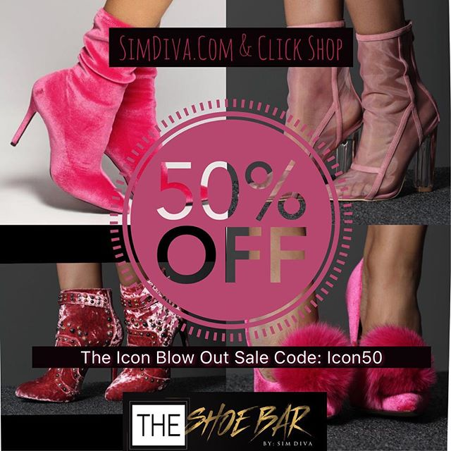 Everything MUST GO. Spring Cleaning. 50% off of the entire site. SimDiva.Com and click SHOP 🏁💕 #Icon50 #IconBlowOutSale @theshoebar.bysimdiva