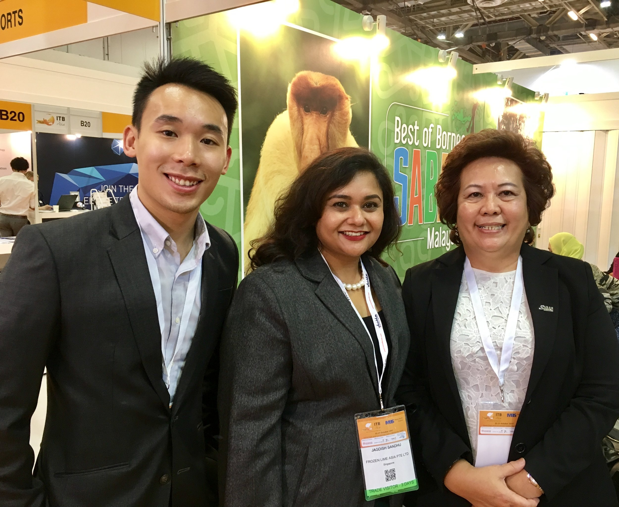 From left to right: Mr Pow Zhi Hoe (Asst Sales Manager, FLA), Ms Jagdish Sandhu (CEO, FLA), Ms Elaine Kwan (Group Director of Sales and Marketing, Sutera Harbour Resort, Kota Kinabalu).