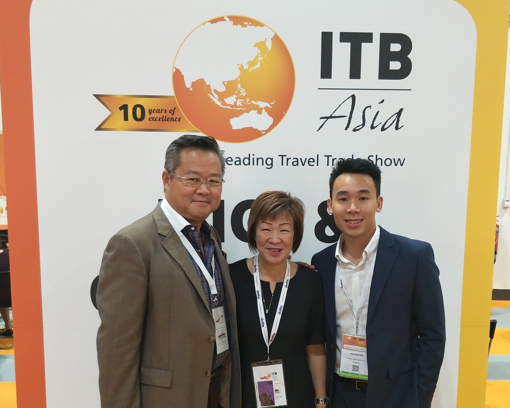 From left to right: Mr Rob Tan (Director of Sales and Marketing, Sedona Hotel Yangon), Ms Aileene Thangaveloo (Director - Marketing, FLA), Mr Pow Zhi Hoe (Asst Sales Manager, FLA).